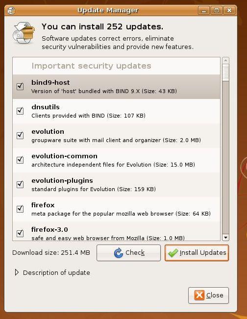Updates in Ubuntu
